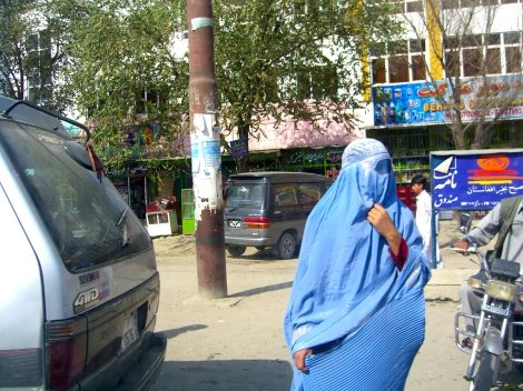 Burka-clad woman