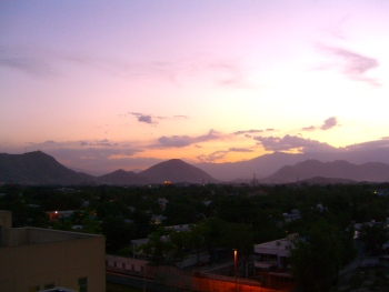 Sunset over Kabul but no city iights