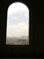 Inside the old palace looking out