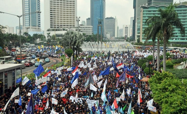 Labor demonstrations in Jakarta